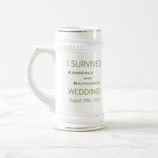 Twin Palm Trees Wedding Souvenir Stein Mug