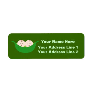 Twin Pea Pods (customizable) Return Address Label
