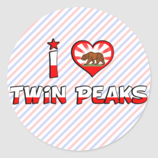 Twin Peaks, CA Round Stickers