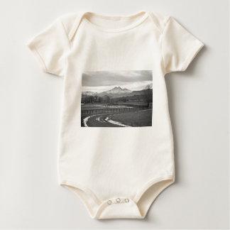 Twin Peaks Mt Meeker and Longs Peak BW Country Baby Bodysuit