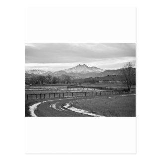 Twin Peaks Mt Meeker and Longs Peak BW Country Postcard