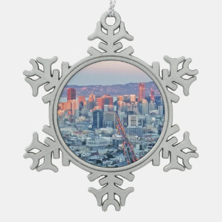Twin Peaks San Fransisco Snowflake Pewter Christmas Ornament