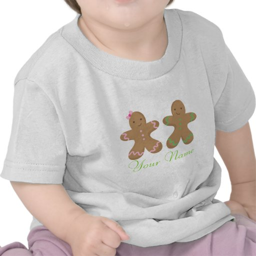 Twin Personalized Gingerbread Cookie Baby Shirts