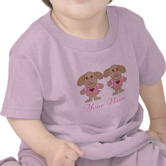 Twin Personalized Puppy Dog Girls Baby Tee