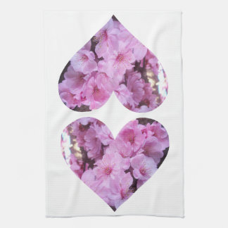 Twin Pink Blossom Hearts Towels