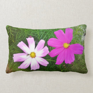 Twin Pink Cosmos Flowers Lumbar Pillow