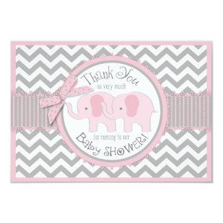 Twin Pink Elephants Grey White Chevron Thank You Card