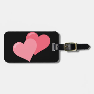 Twin Pink Hearts Luggage Tag