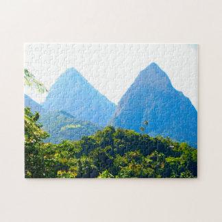 Twin Piton Peaks Saint Lucia. Jigsaw Puzzle