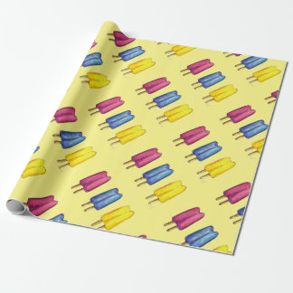Twin Pop Popsicles Yellow Pink Blue Gift Wrap