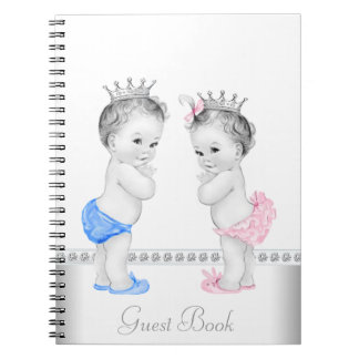 Twin Prince and Princess Baby Shower Guest Book