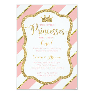 Twin Princesses Birthday Invitation, Pink, Gold Card