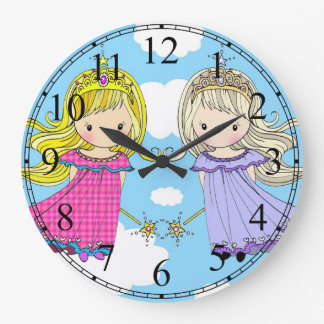 Twin Princesses Little Girls Clock