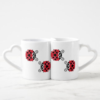 Twin Red Bugs Facing Each Other Coffee Mug Set