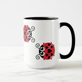 Twin Red Bugs Facing Each Other Combo Mug