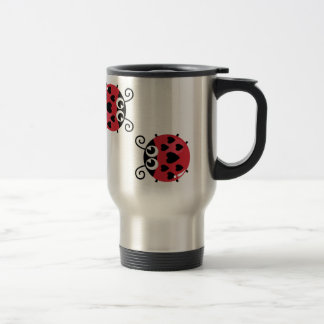 Twin Red Bugs Facing Each Other Travel Steel Mug