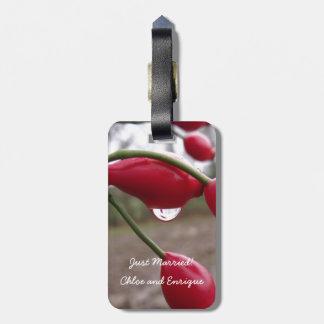 Twin Rose Hips And Rain Honeymoon Luggage Tag
