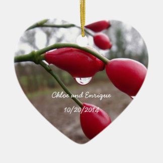 Twin Rose Hips And Rain Personalized Wedding Ceramic Heart Decoration