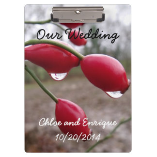 Twin Rose Hips And Rain Personalized Wedding Clipboards