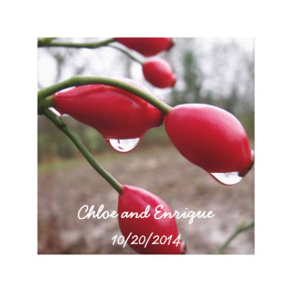 Twin Rose Hips And Rain Personalized Wedding Gallery Wrap Canvas