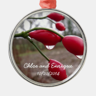 Twin Rose Hips And Rain Personalized Wedding Silver-Colored Round Decoration