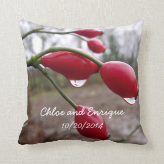 Twin Rose Hips And Rain Personalized Wedding Throw Pillow