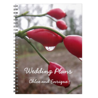 Twin Rose Hips And Rain Wedding Notebook