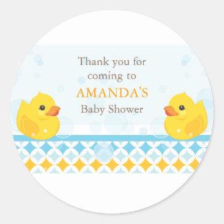 Twin Rubber Duckies Baby Shower Favor Sticker