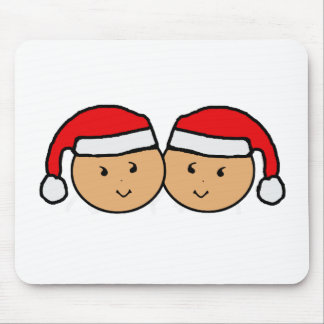 Twin Santa Hat Graphic Mouse Pad