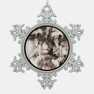 Twin Showgirls in Feathers Pewter Snowflake Decoration