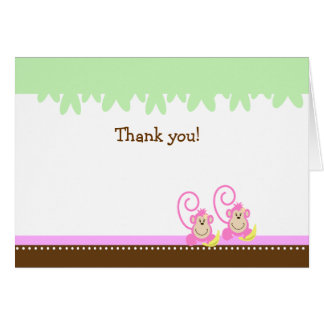 TWIN SILLY MONKEYS PINK Folded Thank you notes
