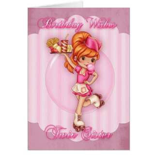 twin sister birthday card - cute waitress pink