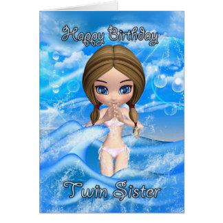 twin sister birthday card - girl swimming