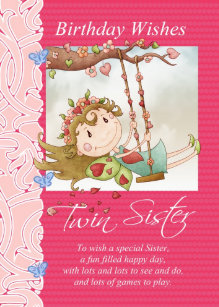 Twin Sister Birthday Wishes Greeting Card With Fai