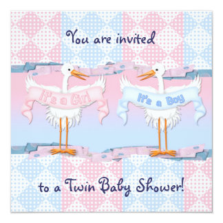 Twin Storks for Baby Shower 13 Cm X 13 Cm Square Invitation Card
