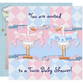 Twin Storks for Baby Shower Card