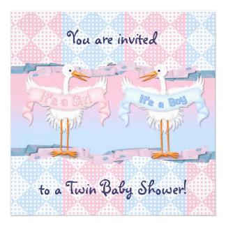 Twin Storks for Baby Shower Custom Invites