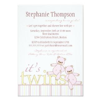 Twin Teddy Bear Girls Baby Shower Invitation