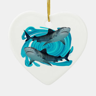 TWIN TIGER SHARKS CERAMIC HEART DECORATION