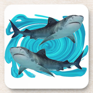 TWIN TIGER SHARKS DRINK COASTERS