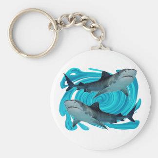 TWIN TIGER SHARKS KEY RING