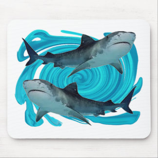 TWIN TIGER SHARKS MOUSE PAD