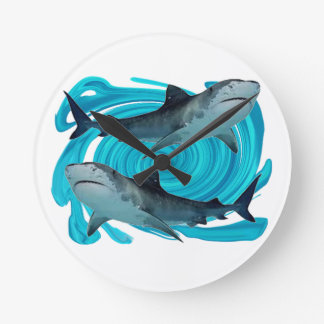 TWIN TIGER SHARKS ROUND CLOCK