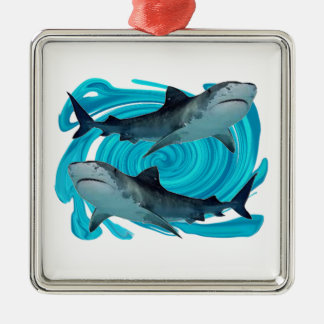 TWIN TIGER SHARKS Silver-Colored SQUARE DECORATION