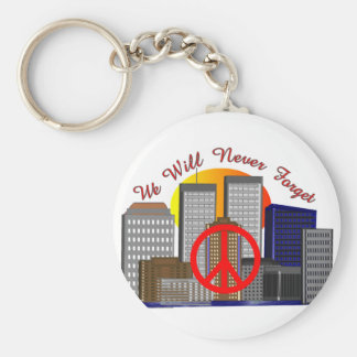 Twin Towers Art Gifts for All Ages Basic Round Button Key Ring
