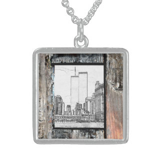 Twin Towers Square Pendant Necklace