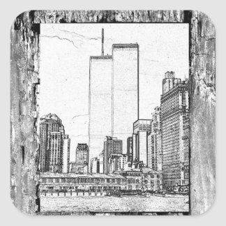 Twin Towers Square Sticker