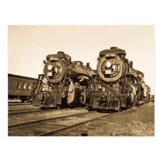 Twin Train Engines Vintage Locomotives Railroad Postcard