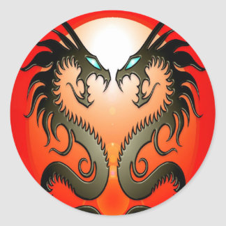 Twin Tribal Dragons Classic Round Sticker