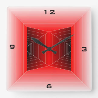 Twin Tunnel modern clock in Red & Black